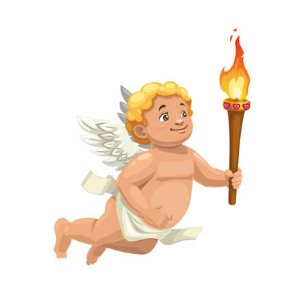 Cupid character with torch and wings, Valentine Days vector angel. Flying Amur carrying a torch with fire flames of love, cartoon Cherub for romantic holiday greeting card design