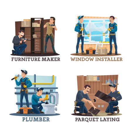 Carpenters, plumbers and furniture makers, vector. Cartoon construction worker characters of carpentry, plumbing, flooring and house repair services working with tools, furniture, pipes, windows