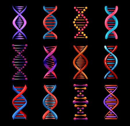 DNA helix isolated icons, vector genetics medicine and biotechnology science. Gene legacy double strands of DNA molecules, human genome evolution, gene cell and chromosome chain symbols Ilustração