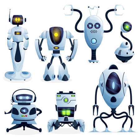 Robots cartoon characters and bots, vector. Future AI Robot cyborg and droid machines, digital futuristic technology and computer game artificial intelligence, robotic creatures