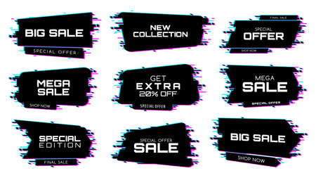 Sale labels with glitch effect, icons for special edition mega sale. New collection, special offer discount for black friday price off promotion isolated on white background, glitch banners Ilustração