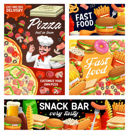 Fast food burgers, sandwiches, pizza and hot dog menu, vector banners, posters. Fastfood snacks bar and pizzeria delivery, popcorn and Mexican tacos with donuts deserts, soda and coffee drinks