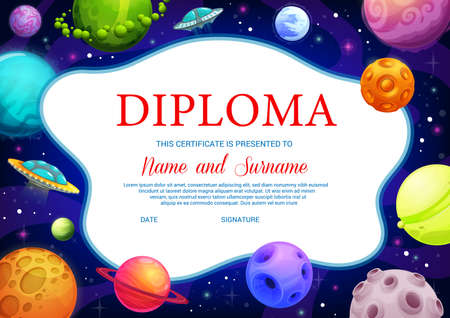Education school diploma, vector ufo and fantasy cartoon space planets. Kindergarten certificate with futuristic galaxy world. Kids cosmic design with alien saucers, achievement award frame