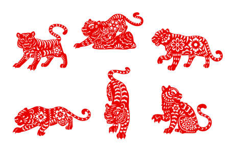 Zodiac tiger animal papercut vector icons of Chinese horoscope. Red papercut horoscope symbols of wild tigers, decorated with oriental paper ornaments, Lunar calendar and astrology signs