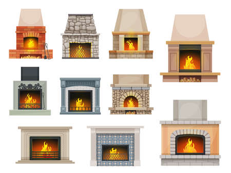 House fireplace with firewood flames. Home open cartoon vector hearth fireplaces made of bricks, stone and decorated ceramic tiles mantel, metal grates, poker and shove, wood chunks Vector Illustratie