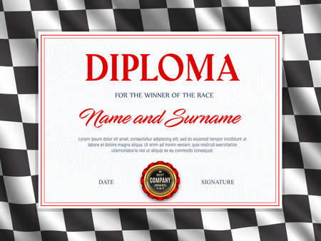 Diploma certificate race sport winner, vector template. Racing checkered flag background frame. Achievement certificate, first place award of car, kart, motorcycle racing, motocross and rally Ilustração