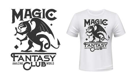 Dragon or griffin t-shirt print mockup, fantasy club vector emblem. Gothic griffin or gryphon dragon with wings and claws, computer video games or fantasy fan club badge for t-shirt print