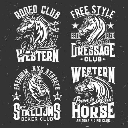 T-shirt prints with horse stallion heads, racing sport, equestrian and biker club vector mascot. Mare animal, monochrome horse and typography on black background. Bronco sports team t shirt prints