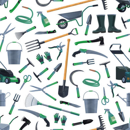 Garden and farm tools vector seamless pattern. Agriculture equipment background with rake, shovel, fork and wheelbarrow, spade, trowel, bucket and watering hose, pitchfork, ax, pruners and boots