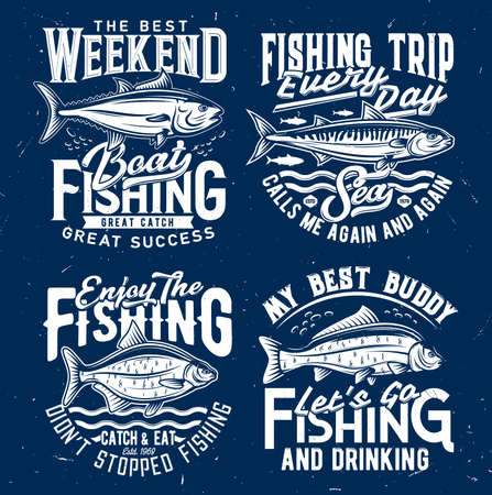 Fishing sport tourism t-shirt print template. Tuna and atlantic mackerel, bream and carp engraved vector. Fishing weekend trip emblem, fisher clothing custom t-shirt print with ocean and river fish