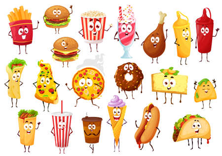 Fast food cartoon characters. Vector burgers, drinks and desserts. Pizza, hamburger and hot dog sandwich, french fries and coffee, donut and popcorn, soda, chicken leg and burrito, tacos and nachos Ilustração