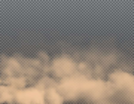 Dust clouds of sand, smoke and dirt air background, vector dirty powder smog. Transparent dust storm, brown fog clouds and ground pollution dusty splash, mist or mud and sandstorm realistic wind