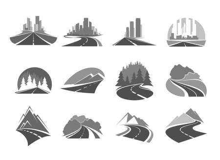Road icons, highway to city, forest and mountains, way and traffic route, vector icons. Road signs of travel, tourism and highway construction service, transport pathway drive and cityscape Ilustração