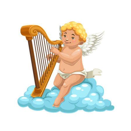 Cartoon cupid angel playing harp on cloud, vector character of romantic holiday. Amur, Cherub or Eros cartoon character with white wings and cute smile playing love song on heaven clouds