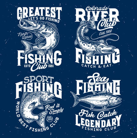 Fishing sport t-shirt prints of salmon, pike, tuna. Sketch vector fishing club, marine or freshwater fish symbols for t-shirt. Fishing sport engraved prints of apparel design