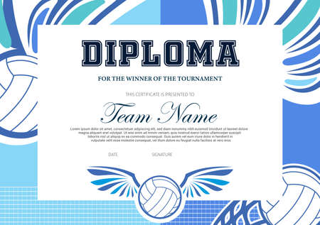 Certificate for volleyball tournament winner. Sports club diploma vector template. Sport award and achievement border design with winged ball and net. School league or beach volleyball competition Ilustração