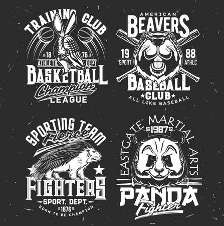 T-shirt prints armadillo, panda, beaver and porcupine vector mascots. Sport team uniform apparel design. Isolated labels with wild animals and typography, t shirt print or emblem for sport club Ilustração