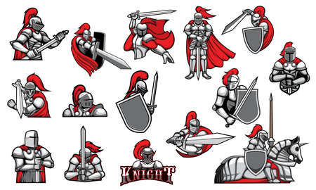 Knights with swords, isolated heraldic vector mascots. Heraldic symbols of royal knight in helmet with red plumage, ancient soldiers. Medieval warriors or guard icons with blade in armor and cape