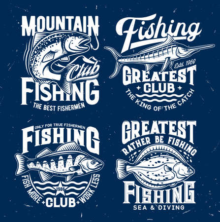 River and marine fishing sport club t-shirt vector print. Salmon fish catching fishhook, perch and marlin, engraved flounder. Fishing sport emblem, fishermen apparel custom print with trophy Ilustração