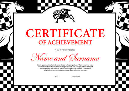 Certificate of achievement or participation for horse race winner. Stallion racing award border design with horse and checkered flag. Victory celebration best result frame Ilustração