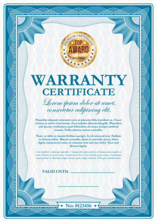 Warranty certificate with guilloches, vector wavy ornamental border. Official top award frame with golden stamp and place for valid date and signature. Paper document for company appreciation Ilustração