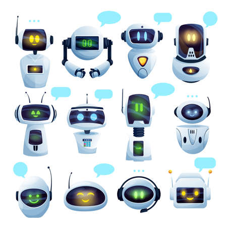 Chat bot or chatbot robot cartoon characters with vector speech bubbles. Ai robots of virtual customer support service and artificial intelligence online assistants with faces, microphones, antennas