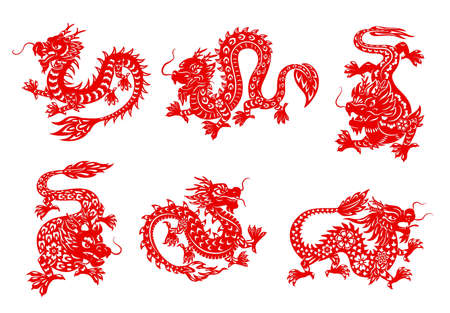 Asian zodiac horoscope dragon vector papercuts. Red dragon animal isolated horoscope symbols with Asian paper cut ornaments of flowers, fire flames and clouds, oriental astrology Ilustração