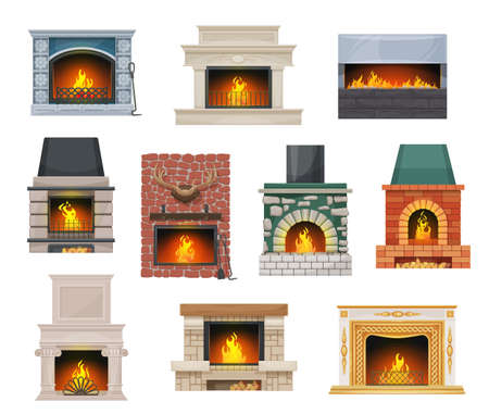 Modern and classic open hearth fireplaces set. Fireplace with stone, brick and marble mantel decorated ceramic tiles, deer antler and stucco elements, flaming fire, firewood chunks cartoon vector