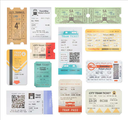 Vintage and modern tram tickets with qr code, isolated vector objects. Transportation retro and modern pass cards, trip paper coupons. Boarding tram admits with date, city transport access Ilustração