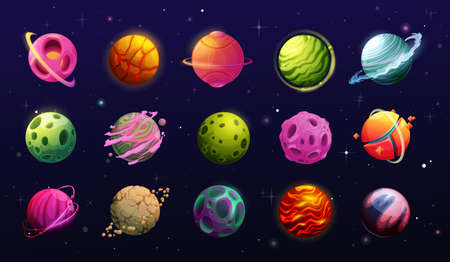 Space planets, cartoon fantasy alien galaxy. Game, ui or gui interface elements. Fantastic world universe planets, asteroids and halo on orbits, craters, rings and magma on sky with stars, meteors