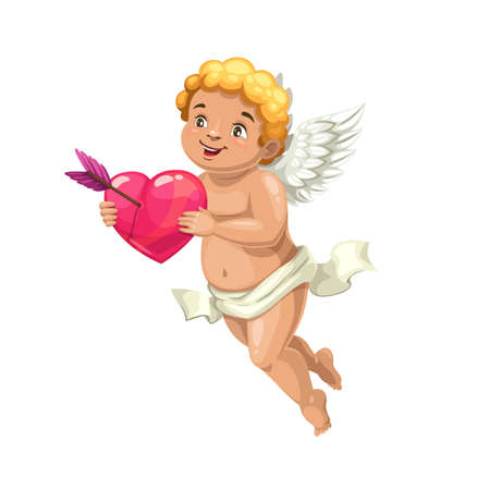Cupid angel with heart and love arrow, vector. Valentines Day romantic holiday flying Amur or Cherub cartoon character with pierced heart, white angel wings and cute smiling face