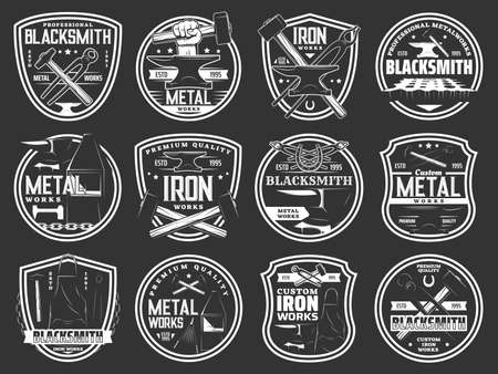 Blacksmith steel forging, iron and metal works workshop vector icons. Blacksmith foundry anvil and hammer in hand signs and metalwork emblems, forged products and custom iron works equipment tools