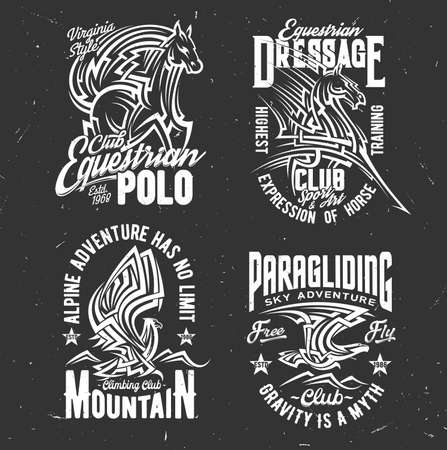 T-shirt prints with horse and eagle. Vector mascots of equestrian, climbing and paragliding club apparel. Isolated stallion and hawk monochrome t-shirt prints for sport team, emblems design Ilustração