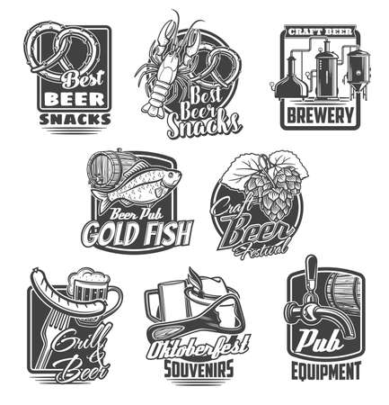 Beer brewing festival, pub snacks vector icons. Craft beer brewery, Oktoberfest souvenirs and pub equipment emblems. Pretzel, lobster and dried bream, hop, grilled sausage and tankard glass