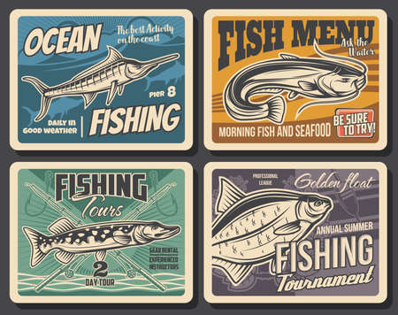 Fishing sport tackle, fish and seafood vector posters of fisherman competition. Ocean blue marlin, bass or carp, river pike and catfish, fishing rods, hooks, spinning reel and lure, bait and floats