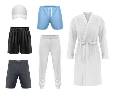 Men clothing realistic vector mockup, sport shorts, fitness cap, joggers and recreation bathrobe. Menswear and casual sportswear, jogging tights and gym or boxing shorts pants with bath gown or cape