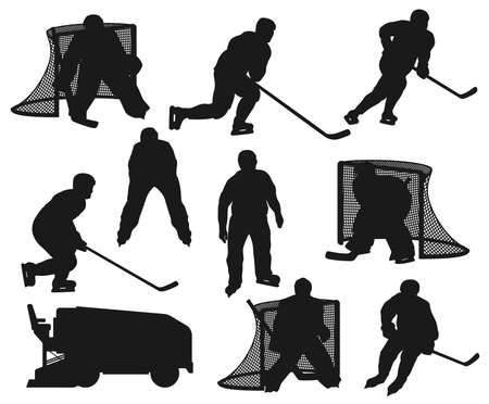 Ice hockey players black silhouettes. Vector sportsmen goalkeeper, referee and ice machine on rink arena. Isolated forward, winger and defenseman team players with puck and stick at goal gates