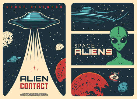 Alien spaceship, extraterrestrial UFO life retro posters. Humanoid alien with green skin and big eyes, flying saucer and fantasy spaceship in outer space, Mars and Saturn planets, Moon vector
