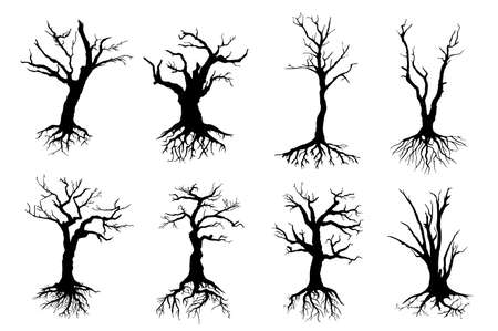 Dead trees isolated vector black silhouettes. Dry wood with no leaves, branches and long roots, nature ecology problems, winter or autumn season plants with rough barks, dead forest icons