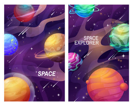 Space and galaxy universe cartoon planets, vector banners of space. Fantasy alien planets and stars in dark sky with falling meteors and asteroids, satellites, orbit rings and halo