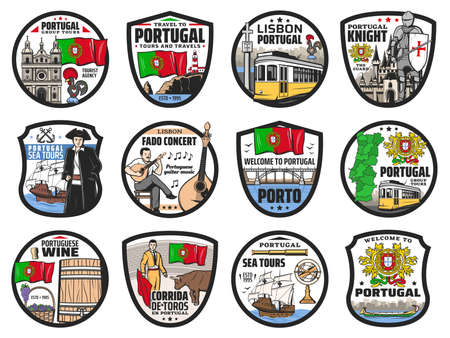 Portugal travel and landmark vector icons. Lisbon, Portuguese map and flag, tram and food, landmark buildings and culture, rooster symbol and Porto sea tours, Sintra city and music symbols