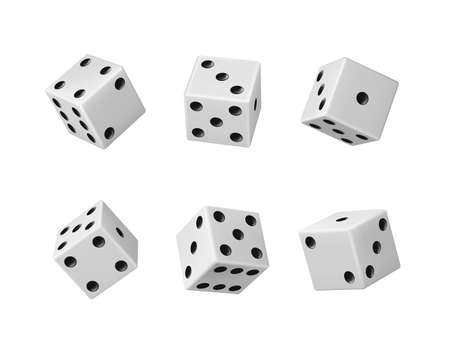 Gambling game dice realistic vector set of casino craps, poker and tabletop board games Isolated white play dice cubes with black dots or pips in different positions, entertainment