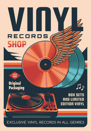 Vinyl records shop vector retro poster. Winged vinyl discs, DJ records turntable. Old music records store, audiophile hobby shop promo banner with audio playback equipment and vintage typography