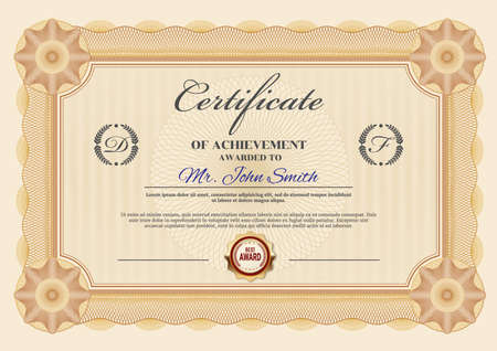 Professional achievement certificate or diploma vector template. Graduation, business success or victory congratulation document with guilloche ornate frame or border, seal and calligraphy