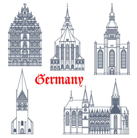 Germany landmark buildings architecture, vector icons of gothic churches and cathedrals. Germany landmark of St Michael and John church Luneburg, Oppenheim Katharinenkirche and Gewandhaus Braunschweig