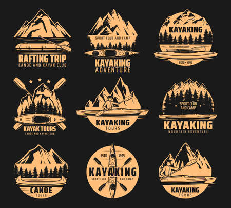 Kayaking sport icons, rafting and canoe tours, vector outdoor adventure club symbols. Nature camping and hiking expedition to river and mountain on kayak, canoe and raft lake boat icons Ilustración de vector