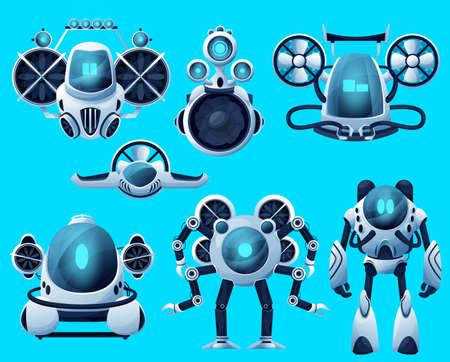 Underwater robots, cartoon submarine sea drone, ocean ROV deep water vehicles. Vector underwater robots, submersible remote control boat and futuristic bathyscaphe, undersea robotic technology