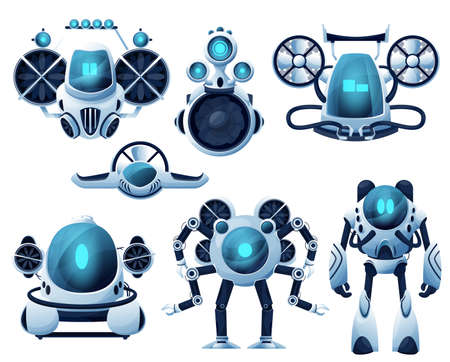 Underwater robot and ROV cartoon characters. Vector robot bathyscaphe and submarine, autonomous and unmanned underwater vehicles with manipulator arms and propellers, sea exploration manipulators Vektorové ilustrace