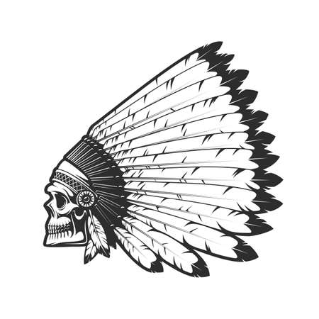 Indian chief skull in indigenous headdress of eagle feathers, dead head vector tattoo. Western and native American tribes culture symbol, Indian chief warrior monochrome isolated head
