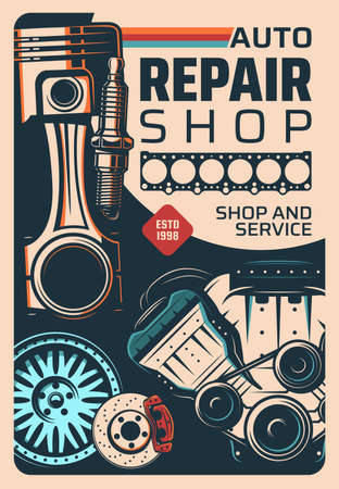 Vehicle repair shop and car service vintage poster. Car engine mechanic, repair garage station or spare parts store retro vector banner. Engine gasket, piston and spark plug, wheel and braking disk 벡터 (일러스트)